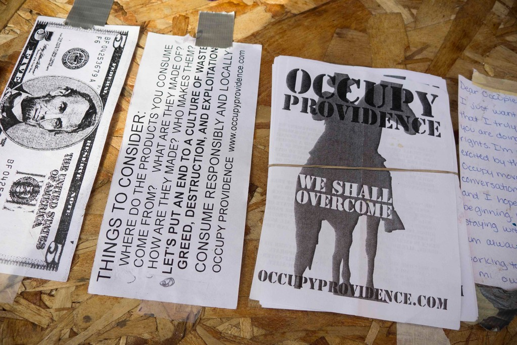Occupy Providence's posters and fliers have become common sights around the city