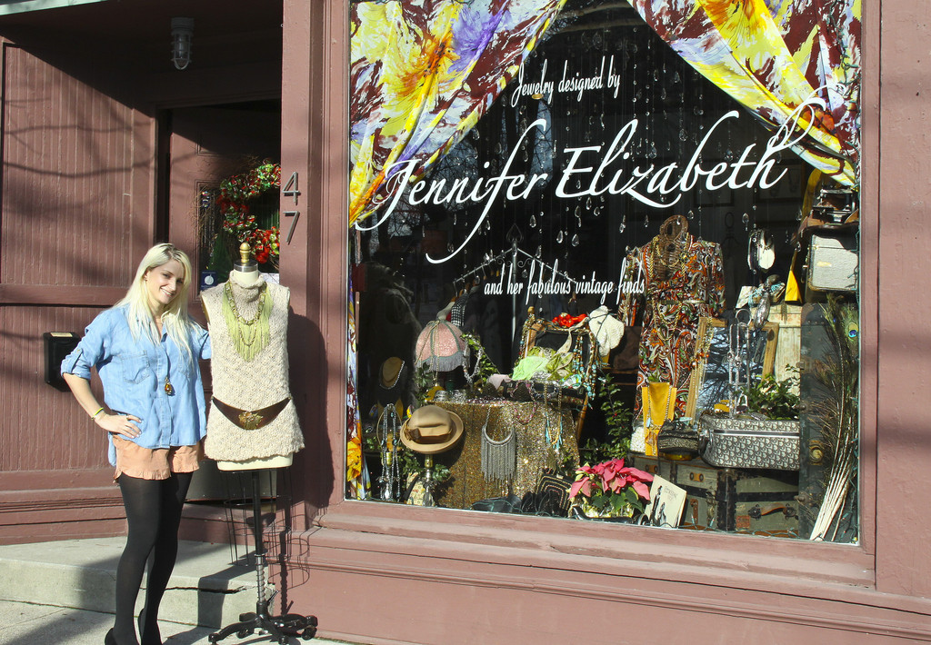 Jennifer Amenta outside her Warren jewelry shop, Jennifer Elizabeth