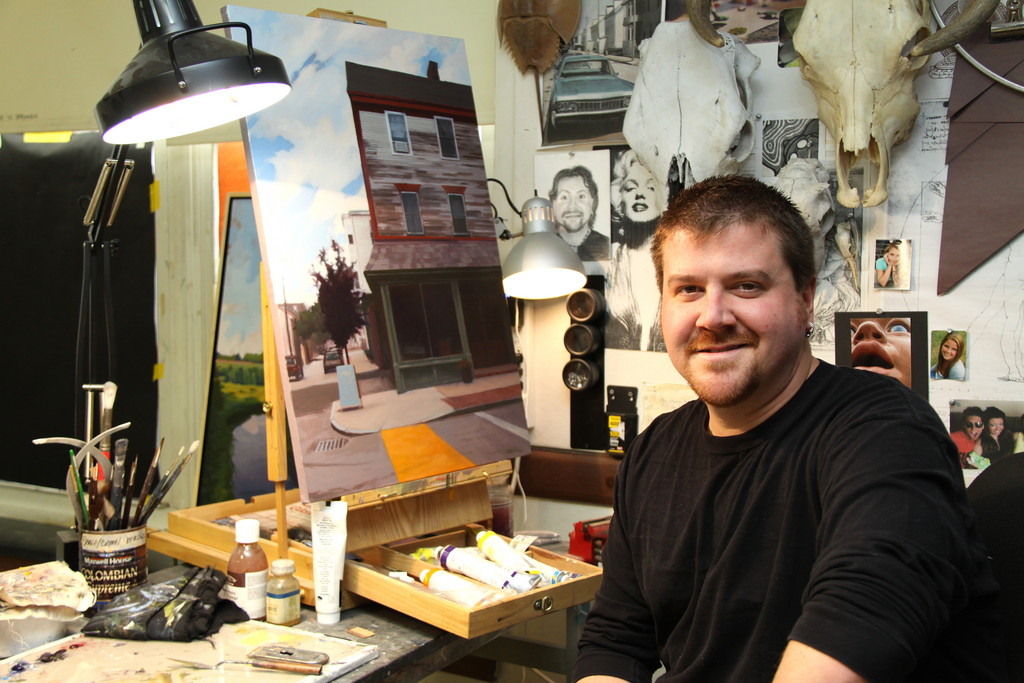 Artist Stephen Meehan in his Someset studio