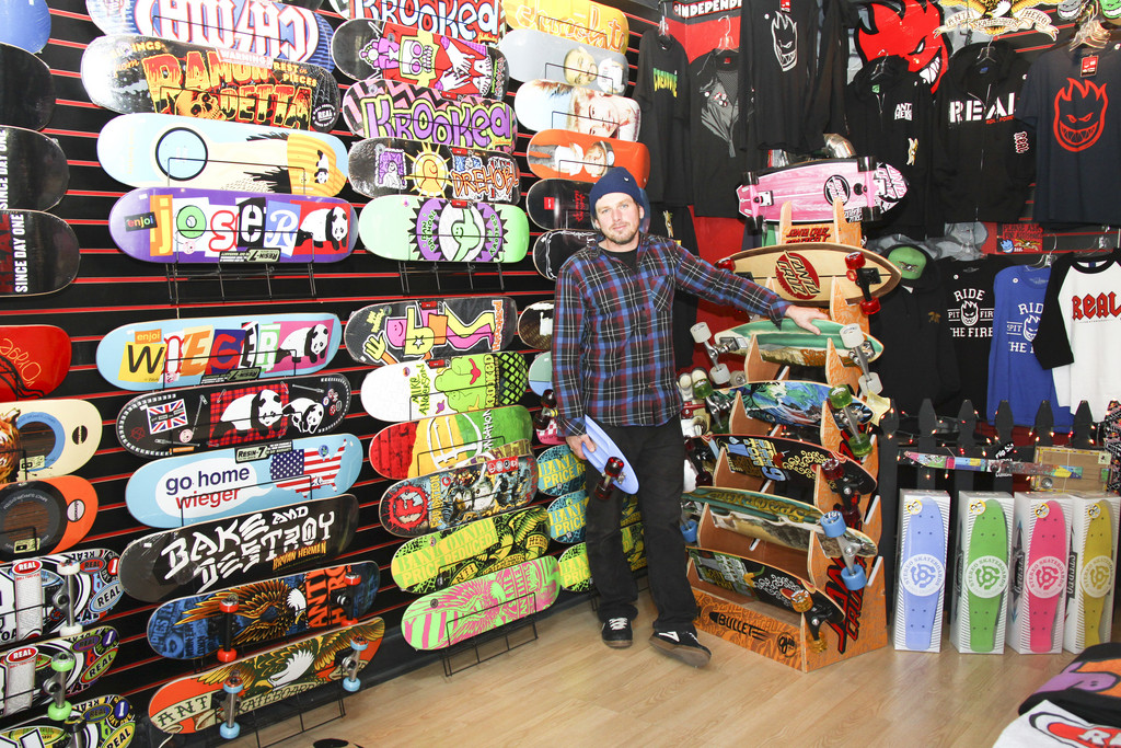 Skateboarder Donnie Patchin at his shop, FlipSide, in Bristol
