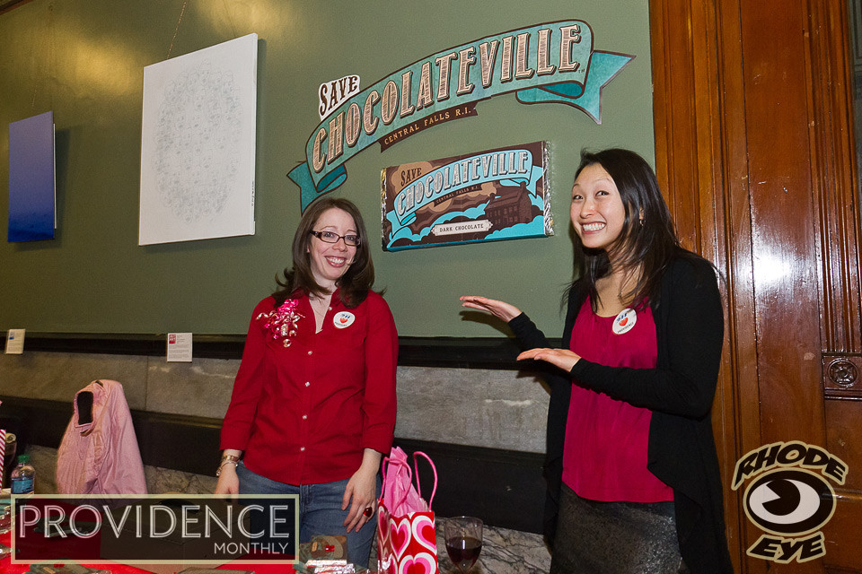 Leadership RI's Jillian Stone and Katie Varney sell the Save Chocolateville chocolate bars to benefit Central Falls
