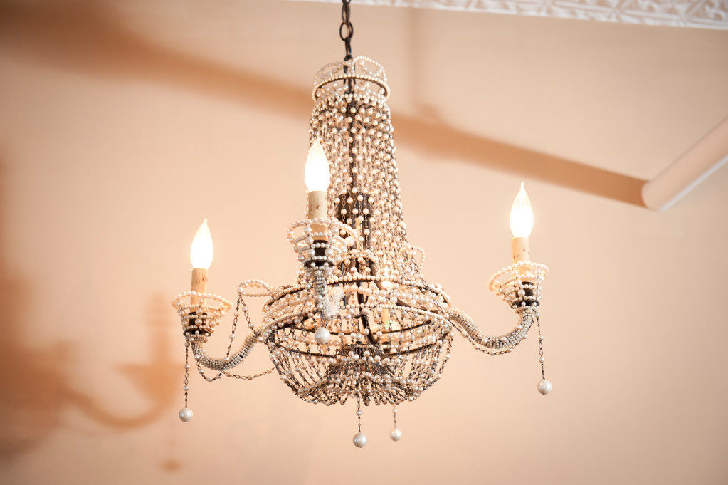 """This is a faux pearl chandelier I bought from ABC Home and Carpet."""