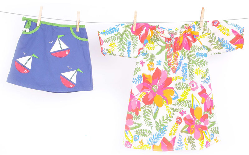 Sailboat skirt, $4.99 at Children's Orchard; floral tunic, $68 at Groovy Gator