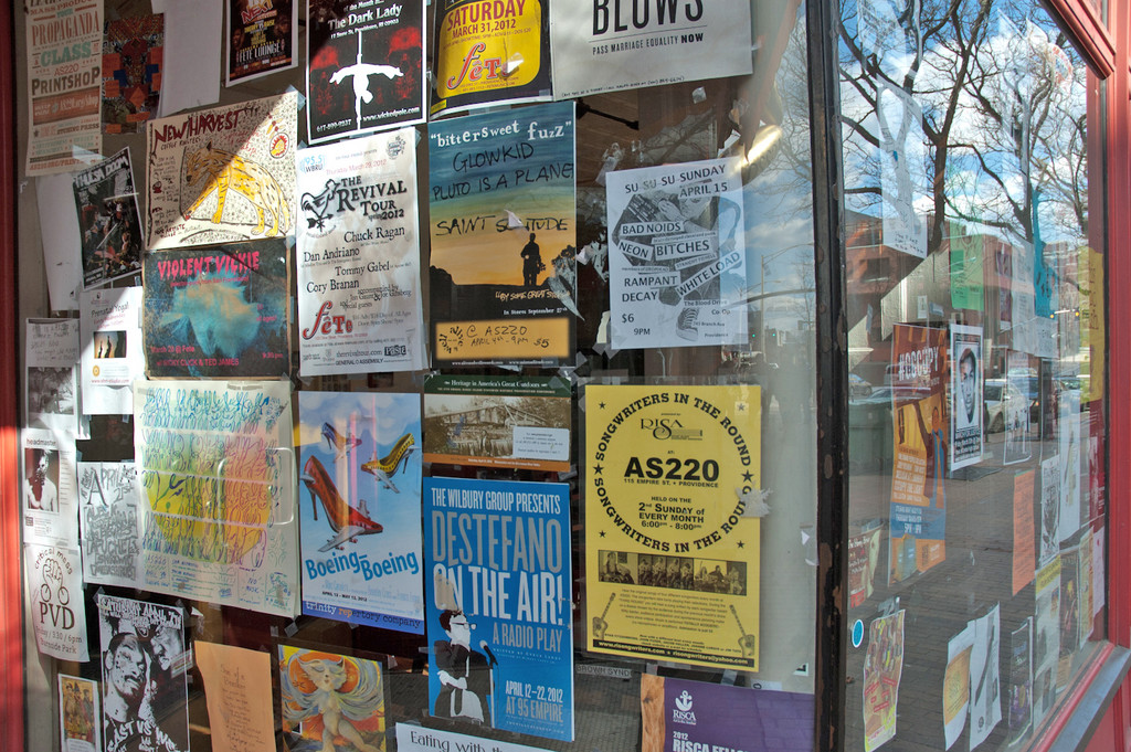 AS220 remains one of the social and cultural nerve centers of Downtown, and its window, perpetually cluttered with posters for various events, is a wealth of information about what's happening.