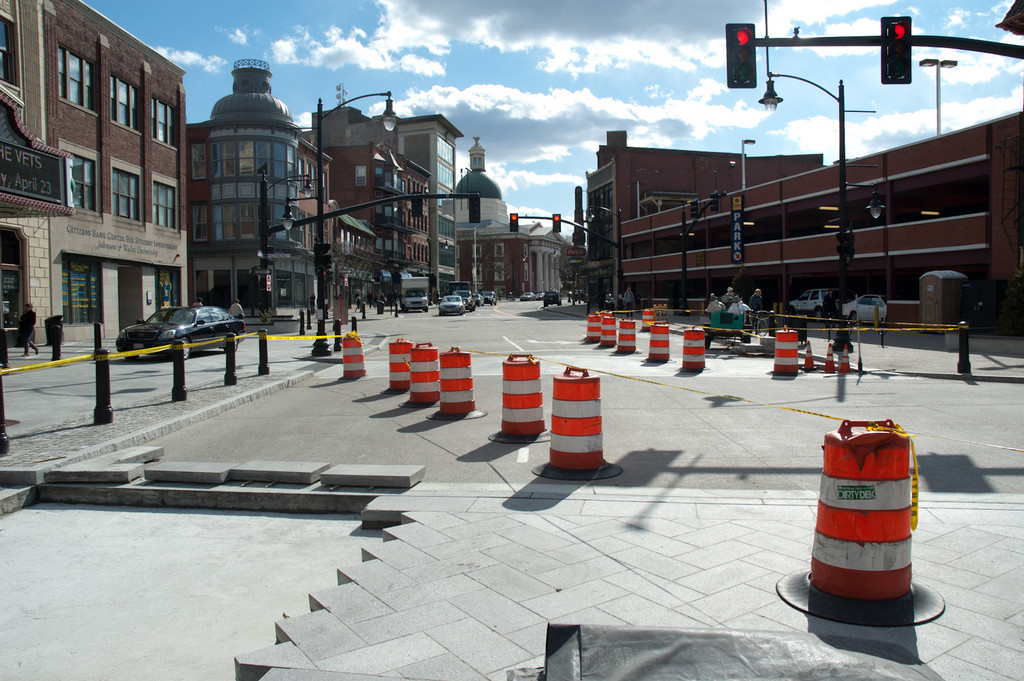 Weybosset Street was reopened to two-way traffic in January 2012, and the area in front of the Providence Performing Arts Center has been getting a facelift.