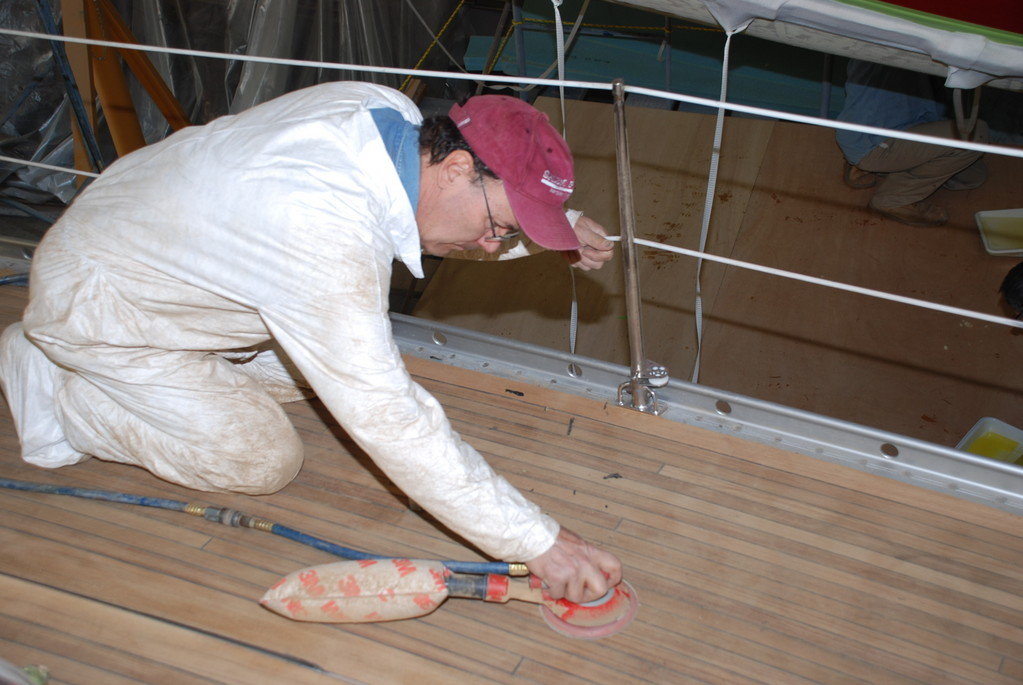 Working on the deck at New England Boatworks
