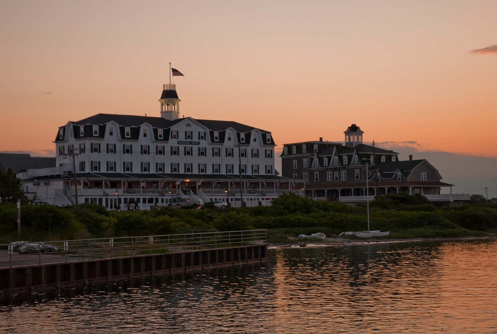 The sight National Hotel greets visitors to Block Island