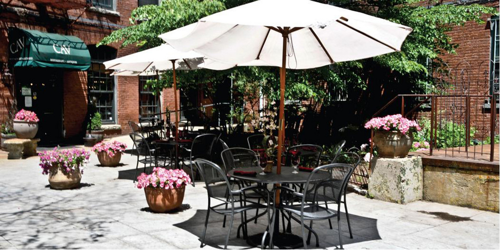 CAVCAV  is a charming, award-winning restaurant with a large area for private al fresco dining. The New York Times rated it one of Providence's five best restaurants. Come try their brunch, lunch or dinner on the romantic garden patio. 14 Imperial Place, Providence. 751-9164
