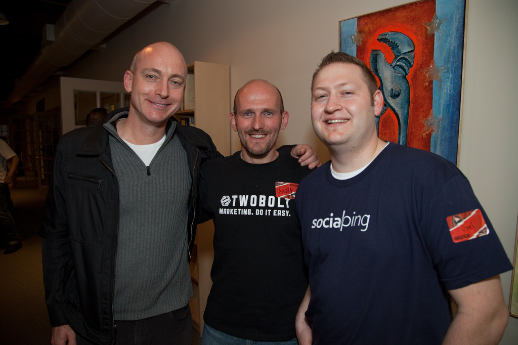 Joel Strellner (left), founder of the Twitter analytics start-up Socialping, decided to remain in Providence after his experience at Betaspring