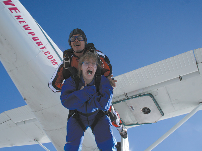 Try not to look as utterly terrified as this woman at Skydive Newport