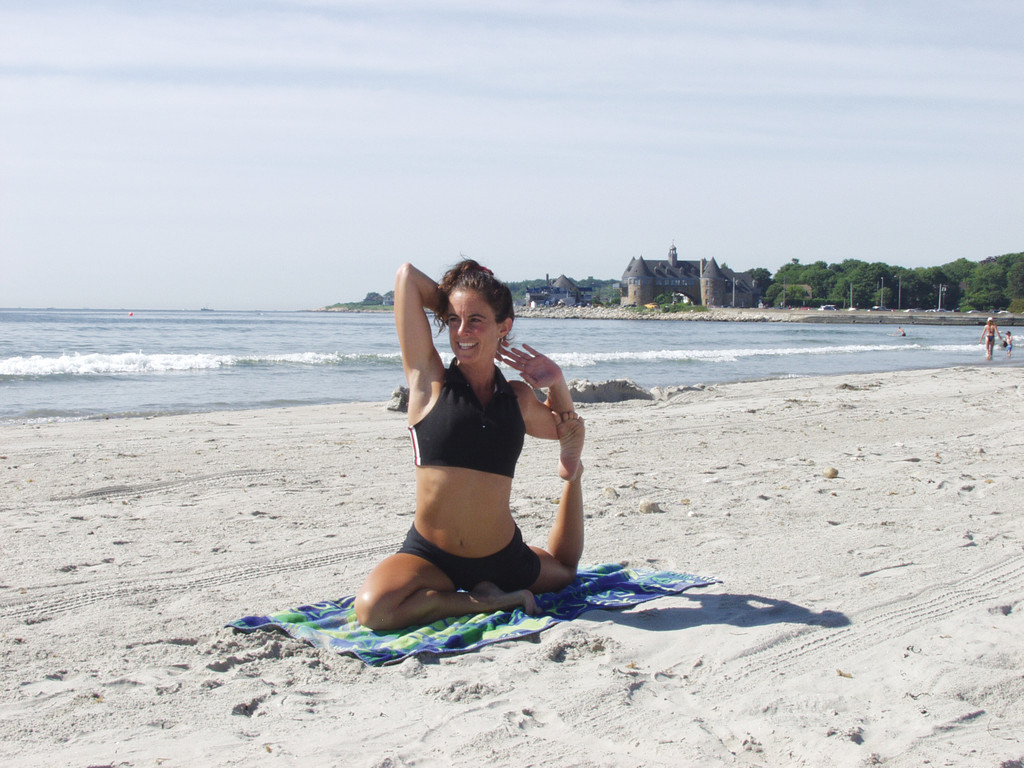 This summer try yoga on Narragansett Town Beach