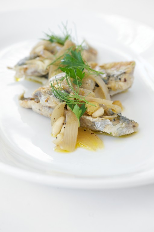 "Sardines ""In Saor""  with spices, onions, vinegar and sultanas"
