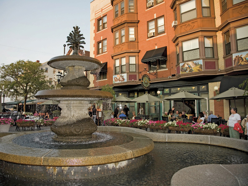 Take your out-of-town guests to DePasquale Plaza and dine by the fountain at Venda Ravioli