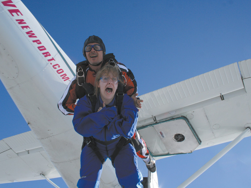 Try not to look this terrified when you Skydive Newport