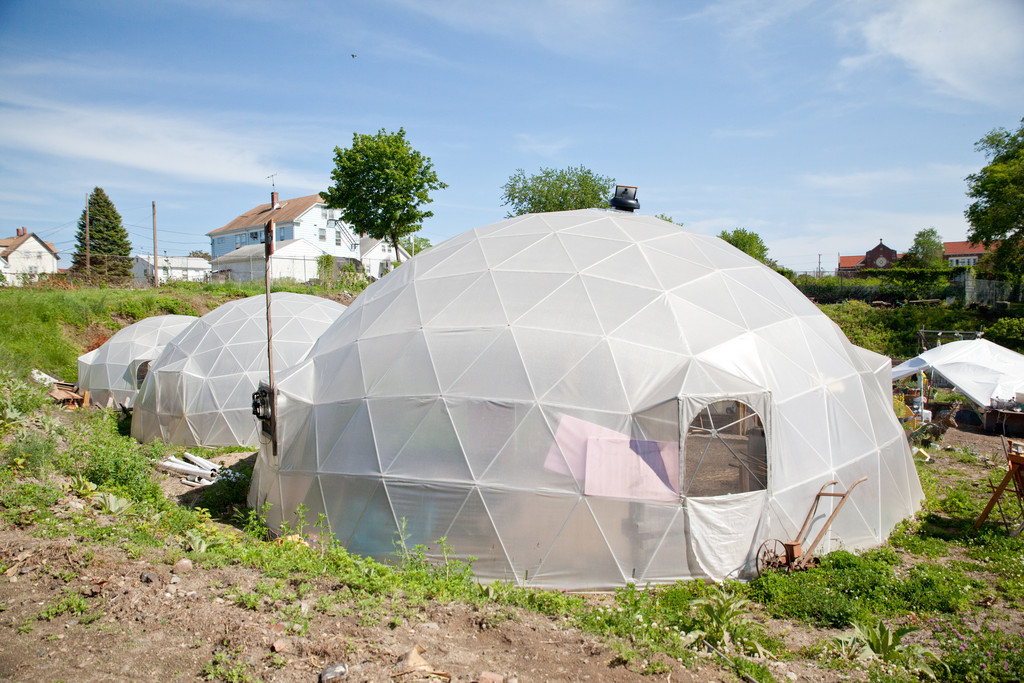 New Urban Farmers' Geodesic Dome Greenhouses are used as indoor grow spaces to start seedlings, mix compost and grow various plants throughout the year