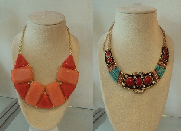 Next we have the bold collar necklace. We couldn't pick a favorite between the bright coral gemstones or the tribal-theme beads because they're both hot right now. Summer is a time for lower necklines to accentuate your tan, which leaves just enough room for the perfect statement piece. Coral is a popular color, and equally so, the tribal pattern is rather chic.