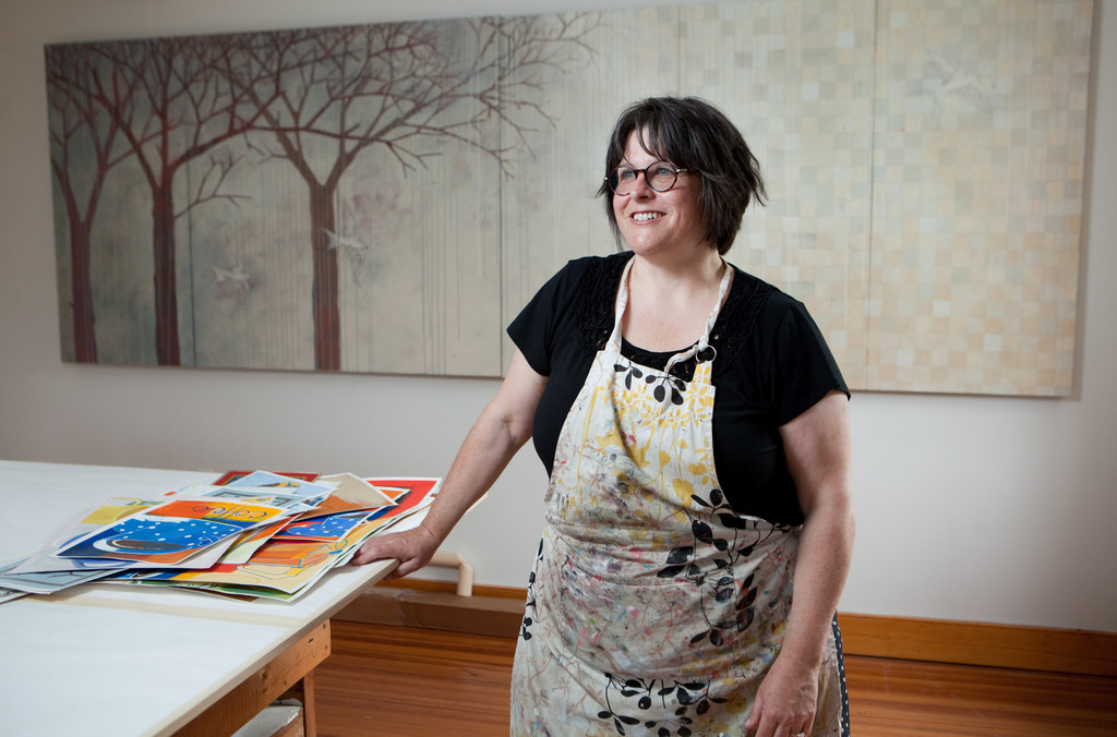 Tiverton artist Kathrine Lovell in her studio