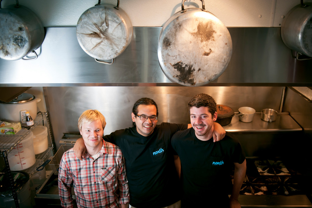 "The self-proclaimed ""cooks"" (don't call them chefs) at north: (L-R) Tim Shulga, James Mark and John Chester"