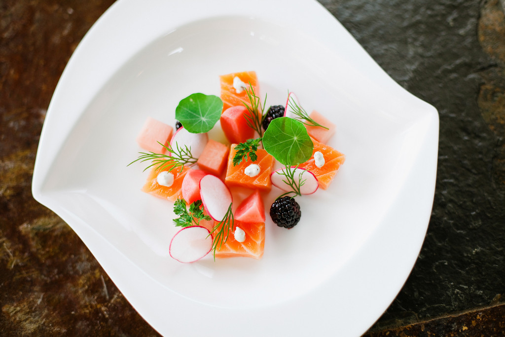 Citrus Cured Salmon - pickled and raw radishes, blackberries, mustard creme fraiche and citrus consomme