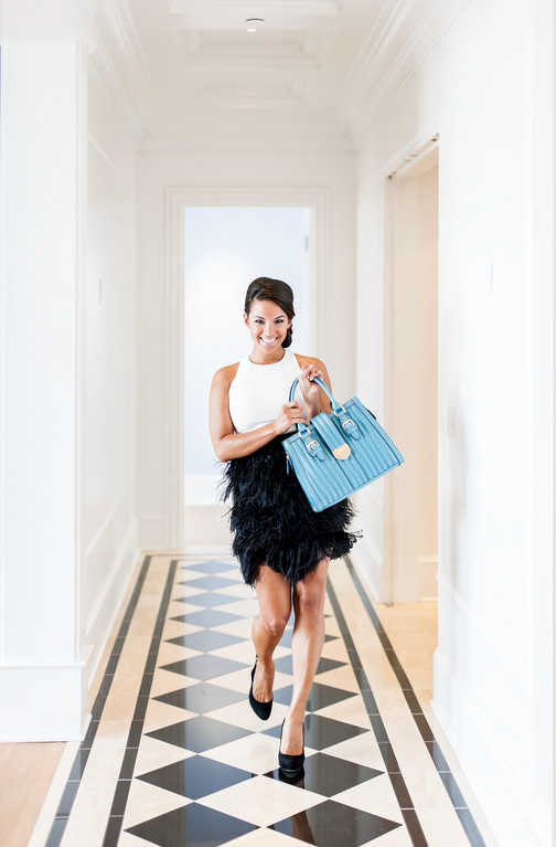 The FlirtFun feathers add a dash of whimsy to formal wearMilly dress, $599 from Zuzu's Petals, 338 County Road, Barrington. 401-245-3000. INC shoes, $50 and H332 bag, $69 from from Blue Suede, 91C Main Street, Warren. 401-337-5877.