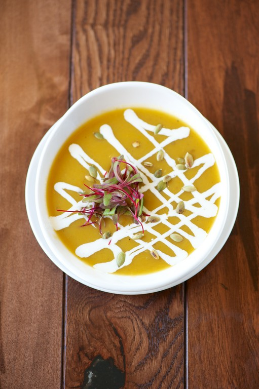 Roasted Pumpkin and Apple Soup with Maple Creme Fraiche