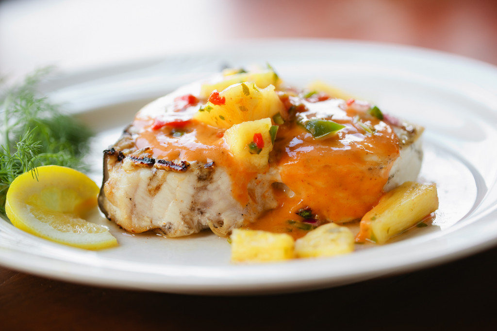 Grilled Swordfish with Cracked Peppercorn and Pineapple Salsa
