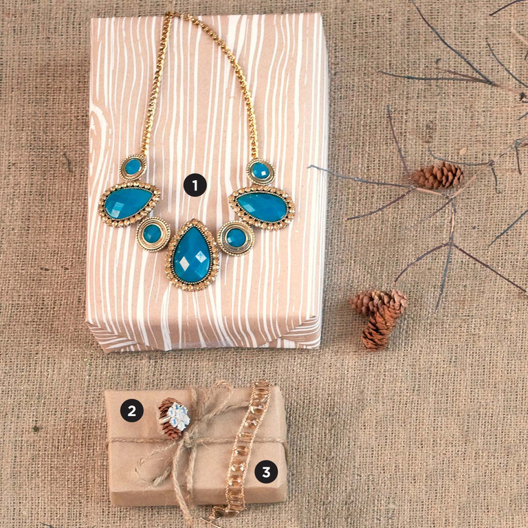 1. Blue Statement Necklace, $42. Stalise, 10 King Charles Drive, Portsmouth. 401-293-5445. | 2. Moonstone Ring, $109. Green River Silver, 297 Hope Street, Bristol. 401-253-5005. | 3. Gold Ladder Bracelet, $1,895. Tiffany Peay Jewelry, 3851 Main Road, Tiverton. 401-816-0878.