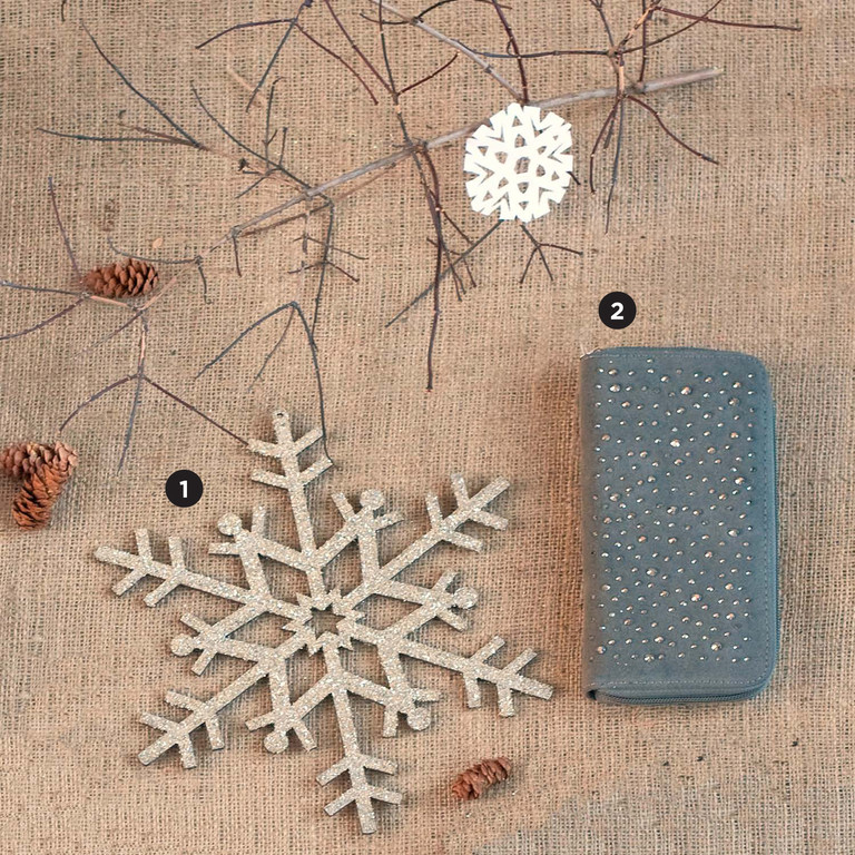 1. Snowflake Ornament, $6.95. Farmstead Mercantile, 384 Market Street, Warren. 401-289-2102. | 5. Grey Sparkle Clutch, $28. Stalise, 10 King Charles Drive, Portsmouth. 401-293-5445.