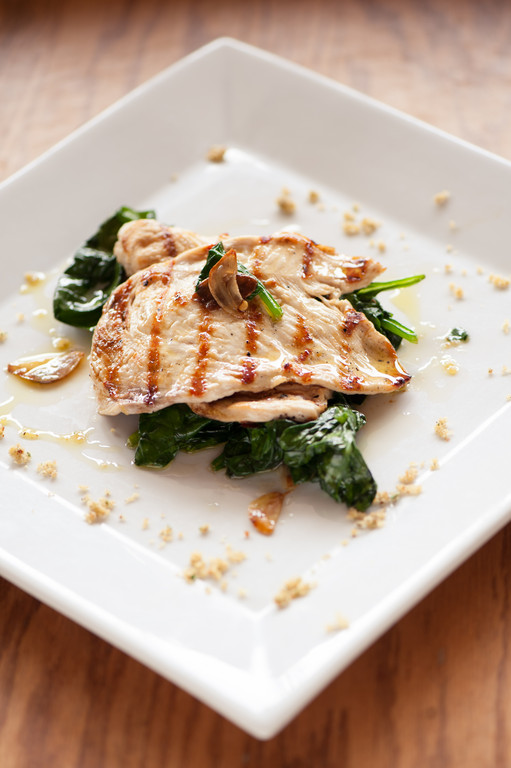 Grilled Chicken over Spinach with Garlic