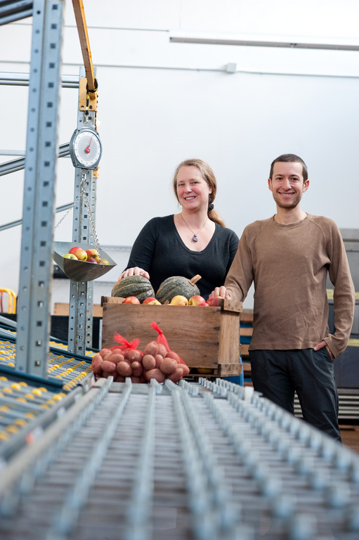 Sheri Griffin and Noah Fulmer of Farm Fresh RI in the Market Mobile warehouse