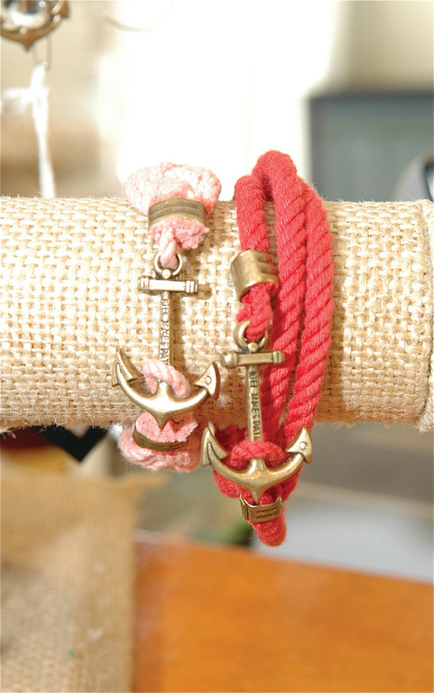 Locally made nautical jewelry is perfect for warm weather on the Bay. Kiel James Patrick, braided $40, wrap $38