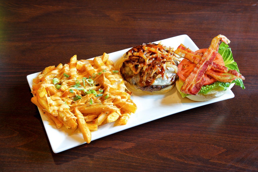 Guinness Barbeque Burger with Cajun Fries
