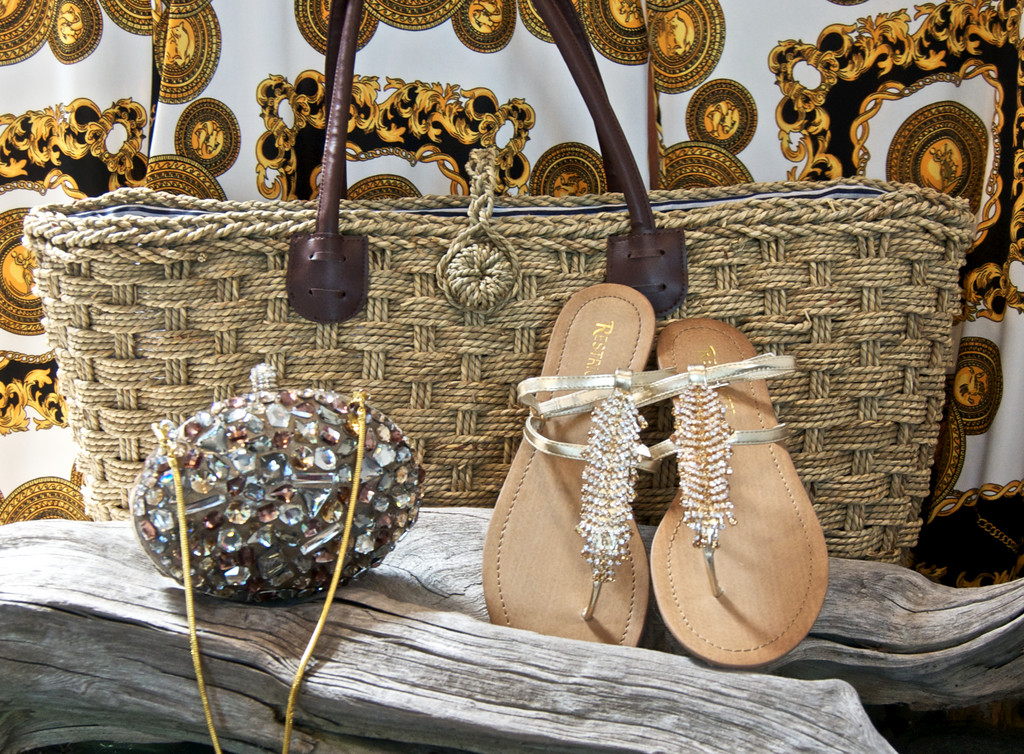 Bejeweled purse, $70; sandals $56
