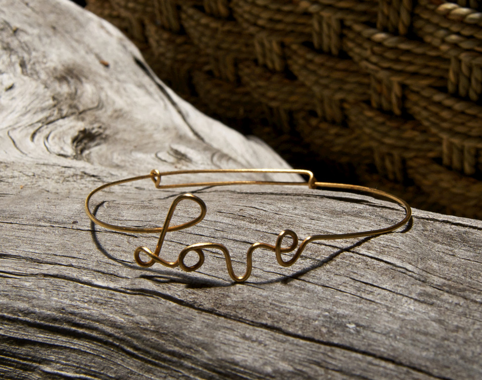 Golden love bracelet, $16