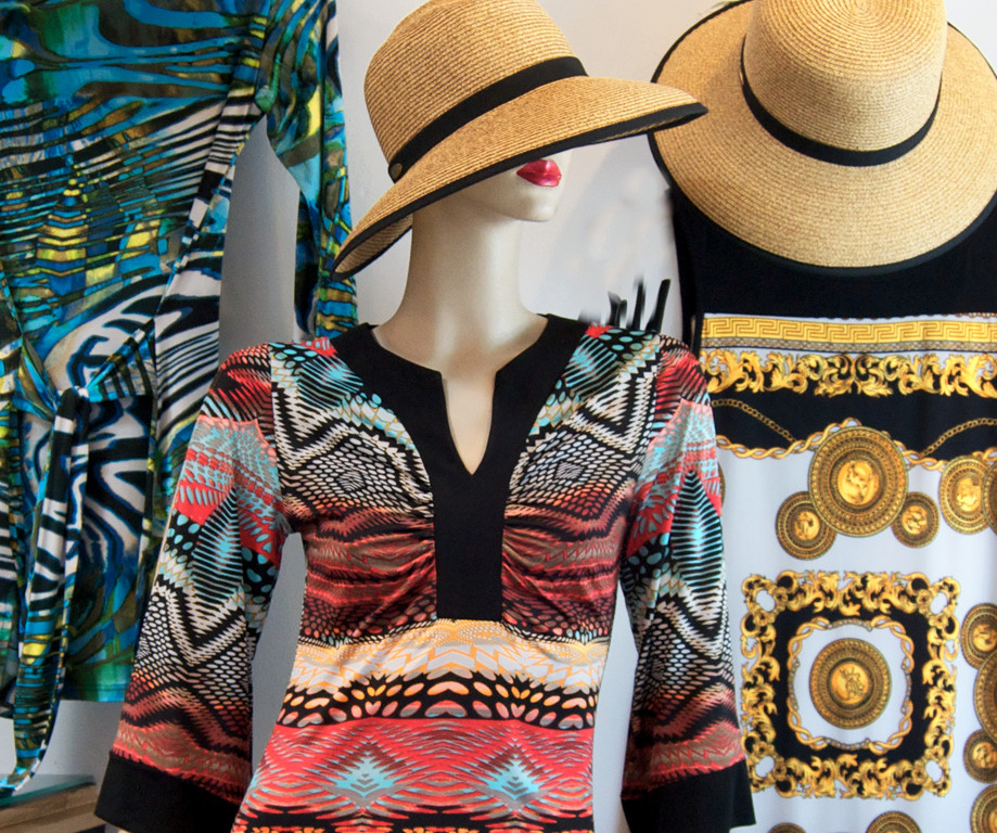 Tribal print dress, $155; straw hat, $32