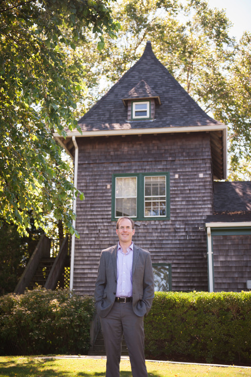 Dr. Wells at a 19th century structure original to Ferrycliff Farm,
