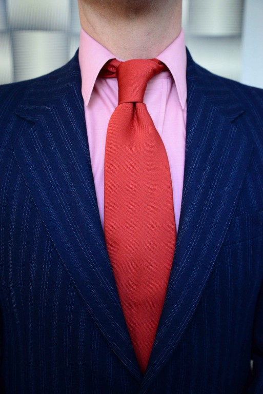 Pierre Cardin Salmon Pink Dress Shirt: Thrifting | Yves Saint Laurent Couture Tie: Thrifting