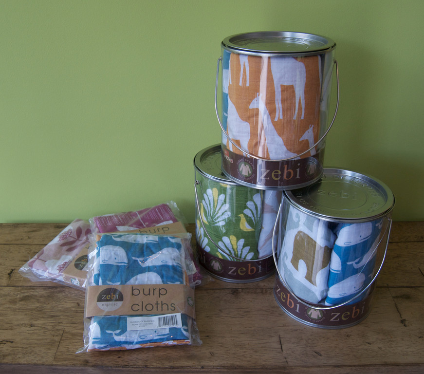 Zebi baby burping cloths: $32/bucket, $18/bag