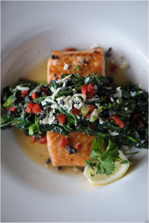 Grilled Salmon Rabe