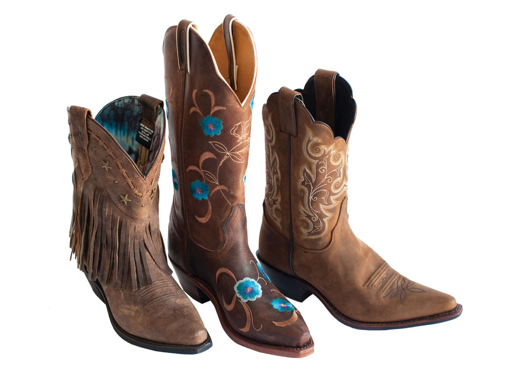 Leather BootsDingo fringe boot, $164.95; Boulet blue flower boot, $249.95; Justin boot, $180.95; all at Allie's. Allie's Selling western tack and apparel, pet food and livestock supplies, animal feed, supplements and more, Allie's takes care of all your animal needs. 3700 Quaker Ln., North Kingstown. 294-9121.