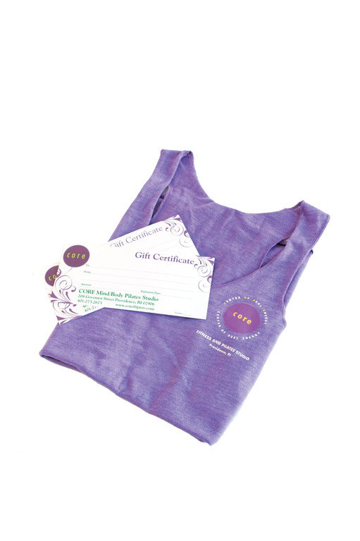 Gift of FitOrganic cotton purple tank paired with gift certificates in any denomination; starting at $28 at Center of Real Energy Fitness & Pilates Mind/Body Studio. Center of Real Energy Fitness & Pilates Mind/Body Studios Give the gift of health this year! Surprise them with a gift certificate to both amazing CORE studios to use on group fitness classes or personal training. 469 Angell St./208 Governor St., Providence. 273-2673.