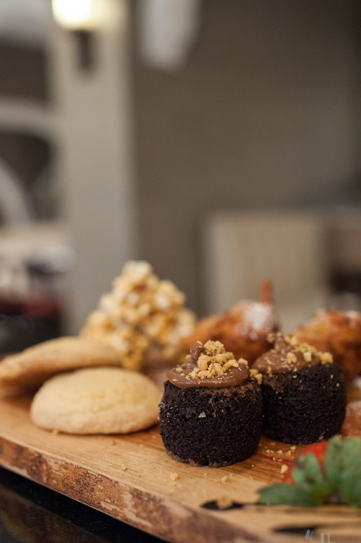 Chef's dessert board: fried oreos, caramel popcorn, snicker doodles and hazlenut cupcakes