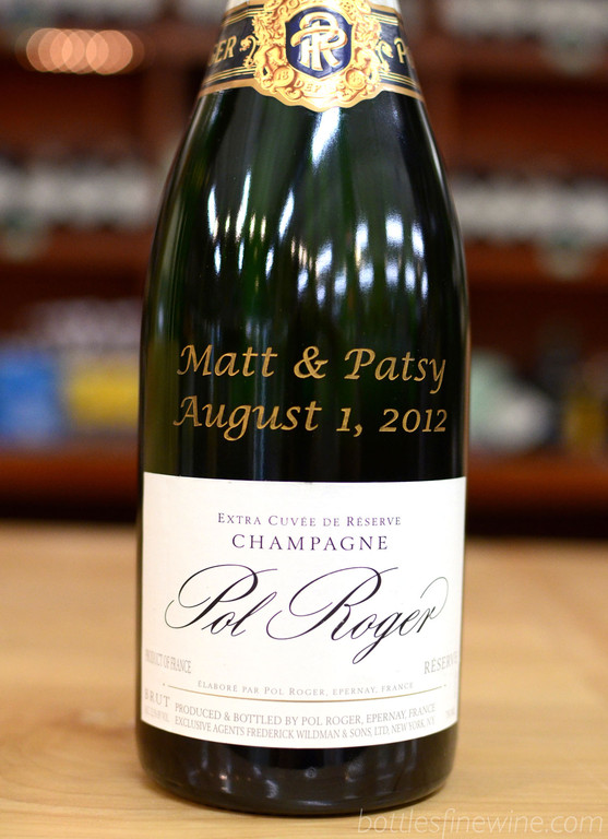 Bottles can engrave almost any item in their wine shop. Pol Roger Champagne is a classic choice. Order now!