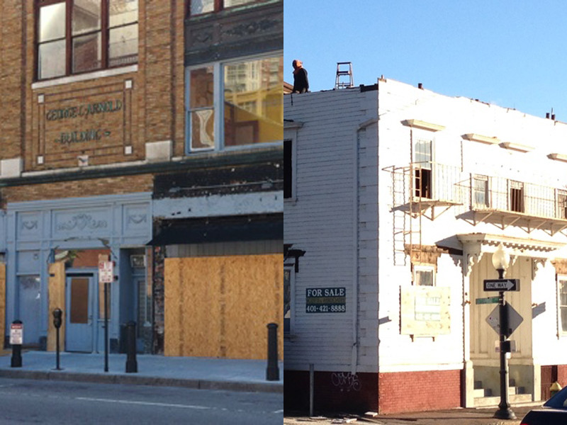 The Arnold building (left) comes back to life, while the Adie house (right) is demolished.