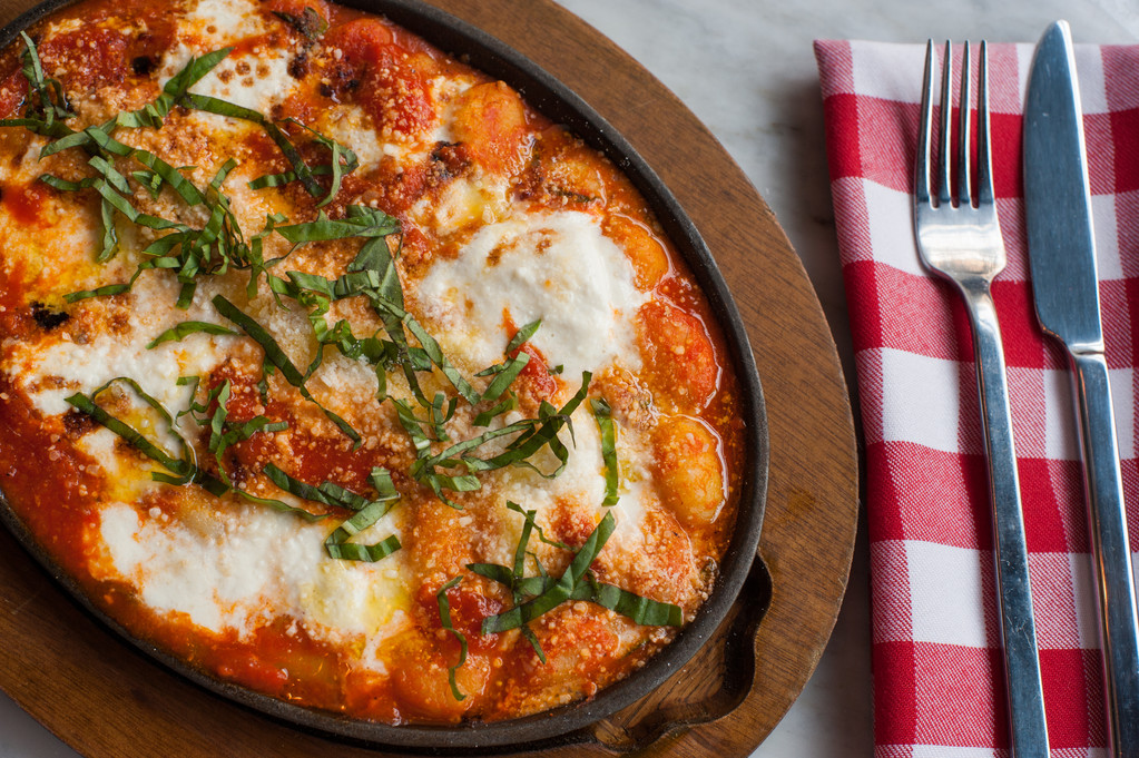 Gnocchi Sorrentina baked with tomato, burrata and basil