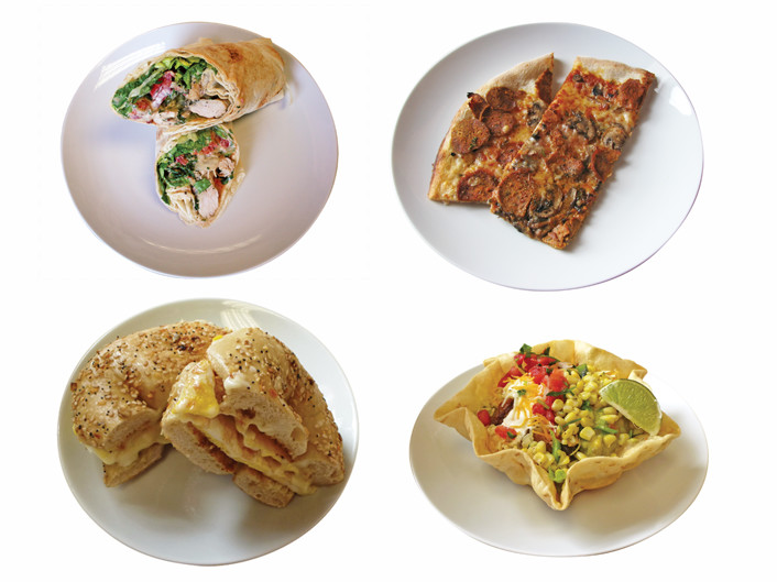 Going clockwise: East Side Pockets' chicken kabob wrap, Flatbread Company's pepperoni mushroom pizza, Bagel Gourmet's classic egg and cheese, Baja's taco salad