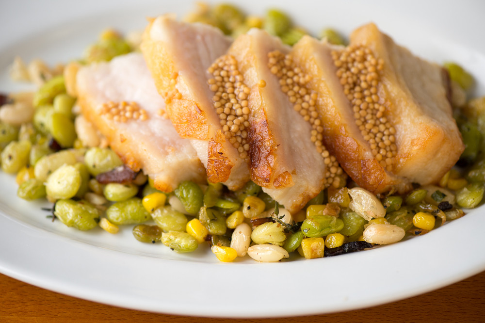 Pork Belly with mustard seed, succotash and fresh herbs