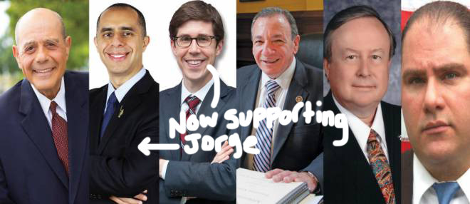 From left to right: Buddy Cianci, Jorge Elorza, Brett Smiley, Michael Solomon, Dr. Daniel Harrop, Chris Young