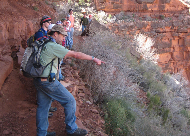 David Fastovsky with geoscience students at the Grand Canyon