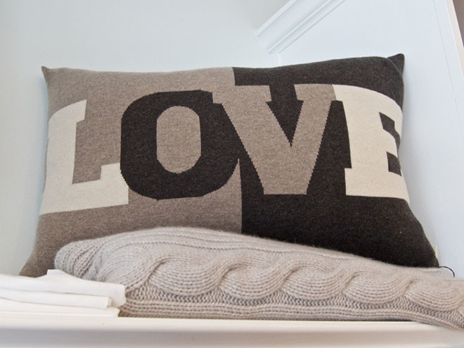 Rani Arabella cashmere pillow and cable-knit throw. $325.00